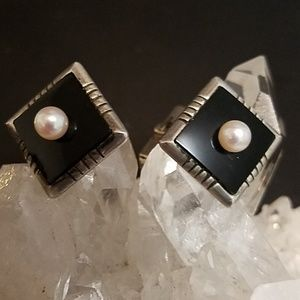Sterling Cultured Pearl Black Onyx Cufflinks